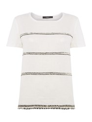Max Mara Silla Short Sleeve Linen Jersey Top White