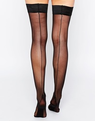 Asos 15 Denier Back Seam Detail Hold Ups Black