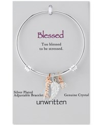 Unwritten Two Tone Blessed And Crystal Wing Bangle Bracelet In Stainless Steel And Rose Gold Tone