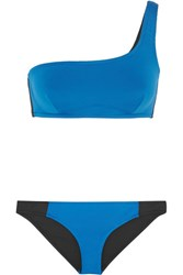 Stella Mccartney Iconic Color Block One Shoulder Bikini Royal Blue