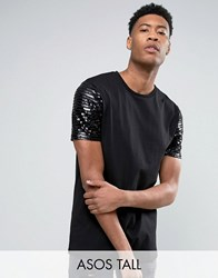 Asos Tall Longline T Shirt With Sequin Sleeves Black White