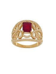 Lord And Taylor Ruby Diamond 14K Yellow Gold Ring