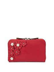 Zac Posen Floral Leather Continental Wallet Bright Red