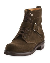 Gravati Suede Lace Up Moto Boot Green