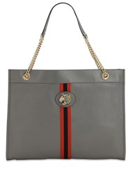 Gucci Large Raja Leather Tote Bag Dusty Grey