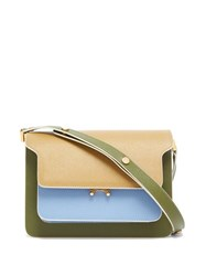 Marni Trunk Medium Saffiano Leather Shoulder Bag Blue White
