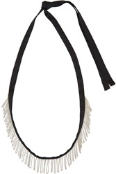 Ann Demeulemeester Black Fringed Chain Ribbon Necklace