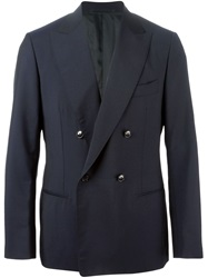 Massimo Piombo Double Breasted Suit Blue