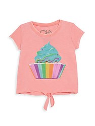 Chaser Little Girl's Cupcake Graphic Tee Flamingo