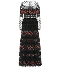 Costarellos Embroidered Tulle Gown Black