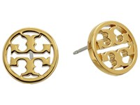 Tory Burch Logo Circle Stud Earrings Shiny Gold Earring Metallic