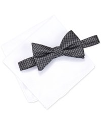 Alfani Men's Venus Neat Bow Tie And Solid Pocket Square Set Only At Macy's Black