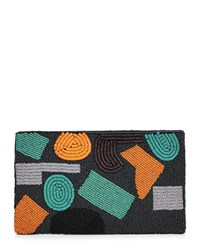 Jaeger Abstract Beaded Clutch Navy
