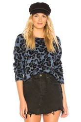 Central Park West Leopard Boat Neck Sweater Blue