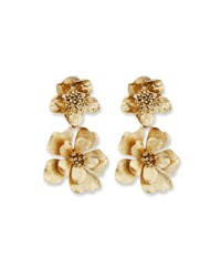 Oscar De La Renta Bold Flower Drop Earrings Gold