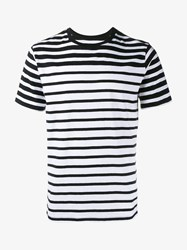 Rag And Bone Stripe Cotton T Shirt Black White Grey Denim