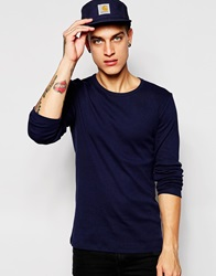 Esprit Long Sleeve Ribbed Top Navy