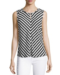 Laundry By Shelli Segal Keyhole Striped Sleeveless Blouse Black Multi