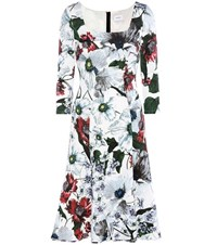 Erdem Toni Floral Printed Jersey Dress White