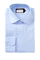 Lorenzo Uomo No Iron Trim Fit Perfect Dress Shirt Blue