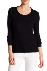 Chaser Back Cutout Thermal Long Sleeve Tee Black