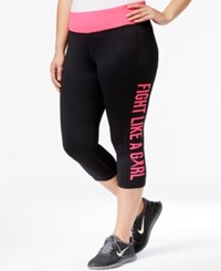 Ideology Plus Size Breast Cancer Awareness Crop Leggings Only At Macy's Noir