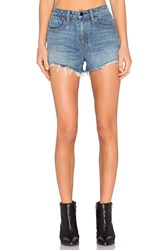 Denim X Alexander Wang Alexander Wang Bite High Rise Frayed Jean Shorts Light Indigo Aged