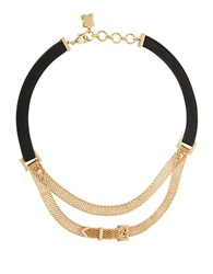 Bcbgmaxazria Leatherette And Mesh Necklace Gold