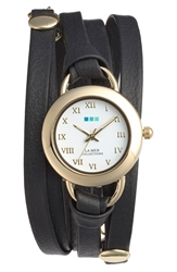 La Mer 'Saturn' Leather Wrap Bracelet Watch Black Gold