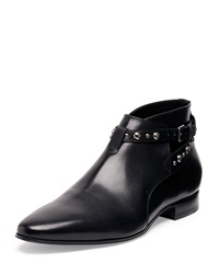 Saint Laurent Studded Strap Leather Ankle Boot Black