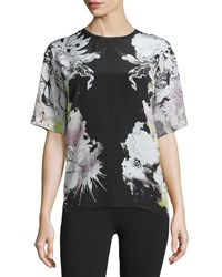 Roberto Cavalli Floral Print Short Sleeve Kimono Blouse Black Yellow Women's