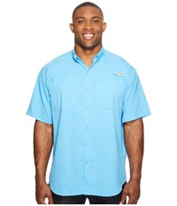 Columbia Tamiami Ii S S Big Yacht Men's Short Sleeve Button Up Blue