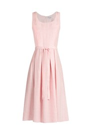 Hvn Jordan Gingham Sleeveless Dress Pink White
