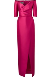 Monique Lhuillier Off The Shoulder Satin Gown Pink