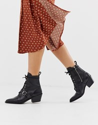 Allsaints Katy Lace Up Heeled Boot With Buckle Black