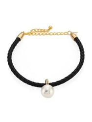 Kenneth Jay Lane Braided Leather Faux Pearl Choker Black