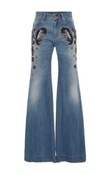 Roberto Cavalli Paisley Embellished Wide Leg Jeans Blue