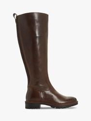 Bertie Tallow Knee High Cleated Sole Boots Dark Tan
