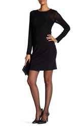 Laundry By Shelli Segal Long Sleeve Dress With Mesh Detail Black
