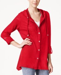 Styleandco. Style And Co. Button Front Hooded Cardigan Only At Macy's New Red Amore