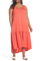 Sejour Plus Size Sleeveless High Low Knit Maxi Dress Red Hibiscus