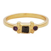 Carousel Jewels Black Onyx And Amethyst Delicate Ring