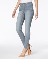 Style And Co Railroad Stripe Rip Detail Skinny Ankle Jeans Only At Macy's Signal