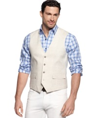 Tasso Elba Big And Tall Linen Vest Natural
