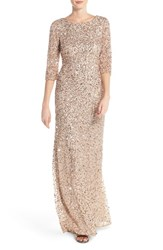 Women's Adrianna Papell Sequin Mesh Gown Champagne Silver