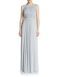 Js Boutique Embellished Pleated Jersey Column Gown Silver