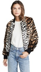 Jocelyn Faux Fur Tiger Bomber Jacket Black Natural