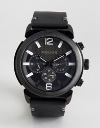 Police Concept Black Leather Watch Black