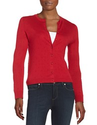 Lord And Taylor Petite Textured Dot Cardigan Scooter Red