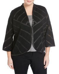 Ming Wang Faux Leather Trim Knit Jacket Black